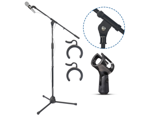 Bomge Tripod Mic Stand - Heavy Duty Microphone Stands Boom Arm Floor with Folding Leg Base and Mic Clips  37.4''/86 cm to 63''/160 cm, for  SM58 BETA 58A PGA 58  e945 e835 e935