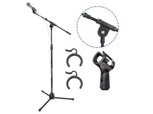 BOMGE Microphone Stand Foldable, Heavy Duty Tripod Boom Mic Stands Arm Floor, Adjustable Boom Arm Length from 17'' to 31'' Inch, with Microphones Holder Clip for Singing, Karaoke, Speech