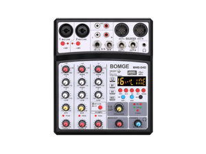 BOMGE 4 Channels Audio Sound Mixer Mixing DJ Console USB with 48V Phantom Power 16 DSP Effects PC Computer Recording MP3 Bluetooth