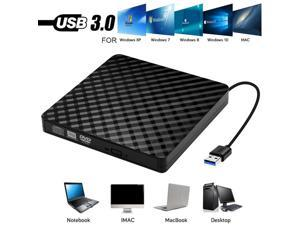 External DVD CD Drive, USB 3.0 Portable CD/DVD +/-RW Drive DVD/CD ROM Rewriter Burner Compatible with Laptop Desktop PC Windows Linux OS(Black)