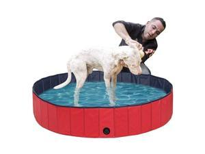 Sim Luxury Foldable Dog Pool - PVC Folding Dog Cat Bath Tub Puppy Swimming Shower Bathing, Garden Patio Bathroom Ideal for Pets Children Kid(120*30CM) RED1