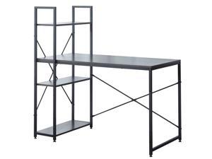 47 Inch Computer Desk With Storage Shelves, Modern Writing Desk with Bookshelf,Study Desk Writing Table for Home Office , Small gaming table(Black)