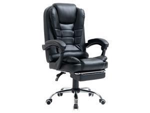 Office Chair Ergonomic Chair Massage Lumbar Support Swivel Adjustable Retractable Foot Rest High Big (Black)