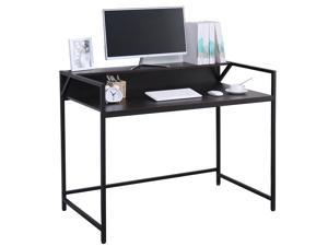 """Computer Desk 43.5"""" with Storage Shelf Study Writing Desk with Monitor Stand Home Office Desk Stable Metal Frame Workstation Black"""