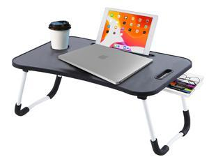 Large Bed Tray with Storage Drawer Foldable Portable Multifunction Desk Lazy Laptop Table,BLACK