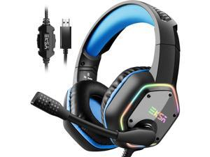 EKSA E1000 Gaming Headset with 7.1 Surround Sound Stereo USB Headphones with Noise Canceling Mic & RGB Light for PC, PS4, Laptop (Blue)