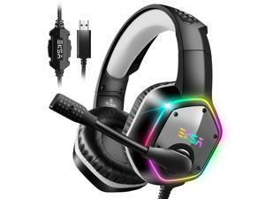 EKSA E1000 Gaming Headset with 7.1 Surround Sound Stereo USB Headphones with Noise Canceling Mic & RGB Light for PC, PS4, Laptop (Gray)