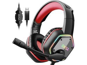 EKSA E1000 Gaming Headset with 7.1 Surround Sound Stereo USB Headphones with Noise Canceling Mic & RGB Light for PC, PS4, Laptop (Red)
