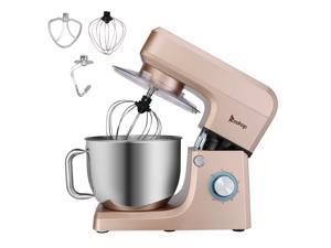 ZOKOP Stand Mixer (Electric Mixer for Everyday Use) 7.5-QT 660W 6-Speed Stand Mixer with Stainless Steel Mixing Bowl, Dough Hooks & Mixer Beaters for Dressings, Frosting, Meringues & More -Champagne