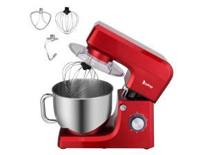 ZOKOP Stand Mixer (Electric Mixer for Everyday Use) 7.5-QT 660W 6-Speed Stand Mixer with Stainless Steel Mixing Bowl, Dough Hooks & Mixer Beaters for Dressings, Frosting, Meringues & More - Red