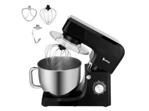 ZOKOP Stand Mixer (Electric Mixer for Everyday Use) 7.5-QT 660W 6-Speed Stand Mixer with Stainless Steel Mixing Bowl, Dough Hooks & Mixer Beaters for Dressings, Frosting, Meringues & More - Black