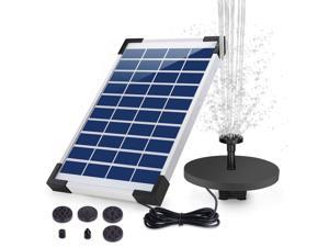HEYSTOP 5W Solar Fountain Pump, Solar Water Pump Floating Fountain Built-in Battery, with 6 Nozzles, Special for Bird Bath, Fish Tank, Pond or Garden Decoration
