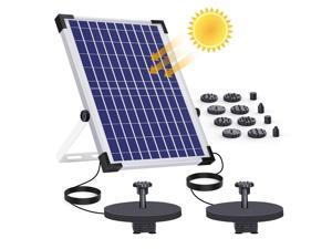 AISITIN 12W Solar Fountain Pump Built-in Double 2000mAh Battery Backup Solar Water Double Pump Floating Fountain with 12 Nozzles for Bird Bath Fish Tank Pond or Garden Decoration Solar Aerator Pump