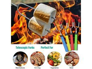 AISITIN  34Inch Marshmallow Roasting Sticks 11PCS Telescopic Fork with Wooden Handle BBQ Camping Bonfire Accessories, Telescopic Smoked Skewers for Campfire Pits and Sausage Barbecues