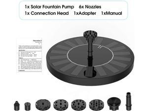 2.5W Solar Fountain Pump with 1200mAh Battery, HEYSTOP Solar Water Pump Floating Fountain with 6 Nozzles, for Bird Bath, Fish Tank, Pond or Garden Decoration Pond heaters for Outdoor Ponds