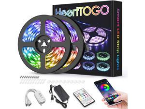LED Strip Lights for Bedroom 32.8ft HEERTTOGO Waterproof IP65 300 LEDs 5050 RGB LED Lights Strip Music Sync Color Changing RGB LED Strip with Blutooth IR Remote Controller and Wired Controller