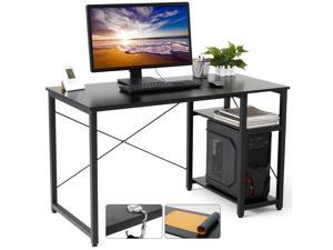 Gome Home Office Computer Desk with Shelves - 47 Inch Large Writing Study Desk with Storage Bookshelf, Modern Simple PC Desk for Small Space, Industrial Work Wood Desk Easy Assemble