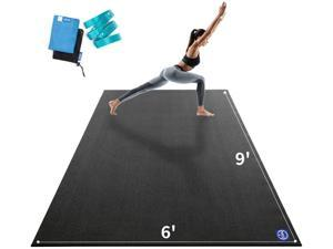 """Premium Large Yoga Mat 9'x6'x9mm, Extra Wide and Thick Exercise Mats for Home Gym Workout, Move Freedom, Non-Slip, Soft for Women and Men Fitness, Eco-Friendly, Barefoot Only,108"""" x 72"""""""