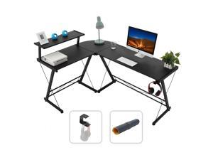 """Gome L-Shaped Computer Desk - 61"""" Larger Corner Desk for Space Saving, Modern Home Office Writing Desk for Work, Study and Gaming, Ergonomic Wood Desk with Monitor Stand(Black)"""