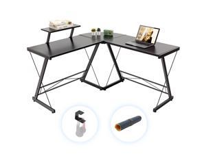 """Gome L-Shaped Computer Desk - 51"""" Corner Desk with Monitor Stand for Home Office, Modern Writing Desk for Work, Study and Gaming for Saving Space, Ergonomic Wood Desk (Black)"""