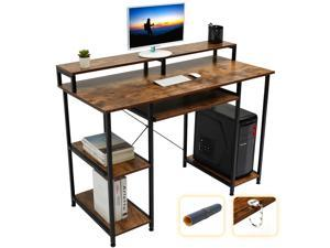 """Gome Computer Writing Desk for Home Office - 47"""" Modern Study Work Gaming Desk with Storage Shelves/Keyboard Tray/Monitor Stand, Sturdy Industrial Desk Studio PC Table with Mouse Pad & Hanging Hooks"""