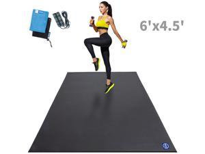 Large Exercise Mat 6'x4.5'x7mm, Shoe Friendly, Ultra Durable Workout Mats for Home Gym Flooring, Non-Slip, Thick Cardio Mat for Plyo, MMA, Jump, Weightlifting- Eco Friendly, Easy to Clean