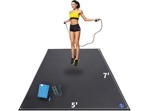Large Exercise Mat 7' x 5' x 7mm, High-Density Workout Mats for Home Gym Flooring, Non-Slip, Extra Thick Durable Cardio Mat, and Ideal for Plyo, MMA, Jump Rope - Shoe Friendly