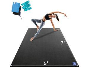 """Large Yoga Mat 84""""x 60""""x 9mm, Feel Free to Move, Non-Slip, Extra Wide and Thick Exercise Mats for Home Gym Workout, Barefoot Only"""