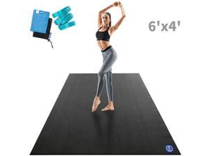 """Large Yoga Mat 72""""x 48""""x 9mm, Feel Free to Move, Non-Slip, Extra Wide and Thick Exercise Mats for Home Gym Workout, Barefoot Only"""