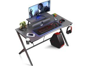 """Gome Gaming Computer Desk for Home Office - 47"""" Large PC Writing Desk for Small Space, Modern Wood Desk with Monitor Stand, Ergonomic Study Work Desk Black"""