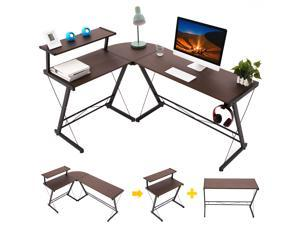 """Gome L-Shaped Computer Desk - 61"""" Corner Desk for Space Saving, Modern Home Office Writing Desk for Work, Study and Gaming, Ergonomic Wood Desk with Monitor Stand, Desk Pad and Hanging Hook"""