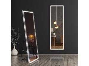 """63""""x20"""" LED Full-Length Lighted Mirror with 3 Color Modes,Large Dressing Mirror for Bedroom with Adjustable Light Strap,Wall-Mounted Illuminating Mirror,Free Standing Body Mirror for Home Use"""