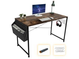 GOME Computer Writing Desk 47 inch Sturdy Large Study Work Desk for Home Office, Modern PC Laptop Desk Simple Style Industrial Table with Storage Bag & Haning Hook