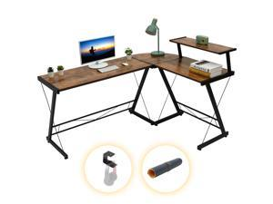 """Gome L Shaped Computer Desk - 61"""" Corner Desk for Space Saving, Modern Home Office Writing Desk for Work, Study and Gaming, Ergonomic Wood Desk with Monitor Stand, Desk Pad and Hanging Hook"""
