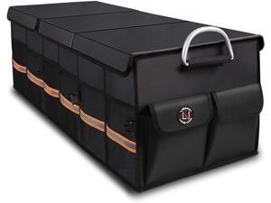 LIBZAKI Trunk Organizer Cargo Organizer Trunk Storage Waterproof Collapsible Durable Multi Compartments-(ExtraLarge,Black)