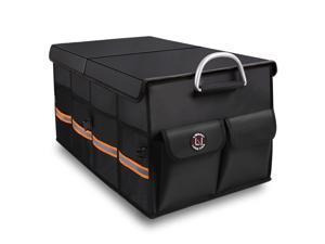 Trunk Organizer, LIBZAKI Cargo Organizer, Premium Multi Compartments Collapsible Portable Trunk Storage for Auto, SUV, Truck, Minivan - Black