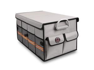 Trunk Organizer, LIBZAKI Cargo Organizer, Premium Multi Compartments Collapsible Portable Trunk Storage for auto, SUV, Truck, Minivan -GRAY