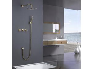 Golden Brushed Nickel Wall Mounted Bathroom Shower System
