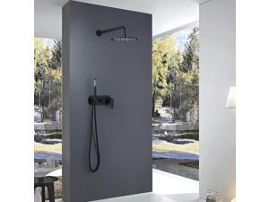 Matte Black Shower System Wall Mounted with Round Rainfall Showerhead and Handheld Shower, Bathroom Mixer Shower Combo Set