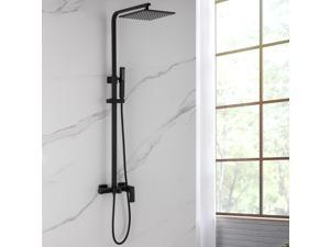 Matte Black Wall Mounted Exposed Install Shower System With 9.84 Inch Rainfall Shower Head System, Handheld Shower and Tub Spout Set Triple Function Shower Combo Set