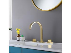 Widespread 2-Handle Contemporary Bathroom Sink Faucet Lavatory Faucet In Golden Brushed Nickel Lead-Free