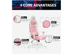 Pink Gaming Chairm Desk Chair, Racing Style High Back Office Chair, Height Adjustment Recliner with Headrest and Lumbar Support