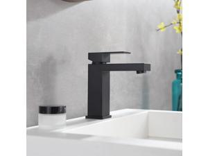 Modern Square 1.2GPM Single Hole Bathroom Faucet In Matte Black