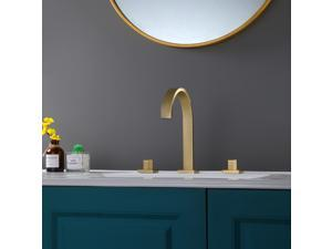 Luxury Widespread Bathroom Faucet Lavatory Faucet In Brushed Gold