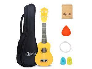 "Apelila 21"" Soprano Ukulele Acoustic Guitar Hawaii Music Instrument Beginner Yellow"