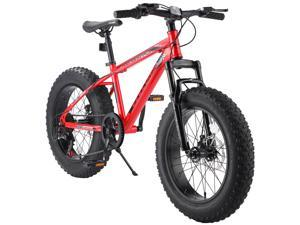 Elecony Nunu-T100 20 Inch Fat Tire Bike Boys Girls Shimano 7 Speed Mountain Bike, Dual Disc Brake Fat Tire Bicycle, High-carbon Steel Frame Front Suspension MTB Mountain Trail Bike