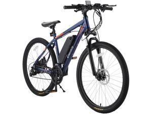 """Elecony 27.5"""" Electric Bike, 350W City Commuter Electric Mountain Bicycle, 20MPH Adult Ebike with Removable 36V 10.4Ah Battery, Suspension Fork, Professional 21 Speed Gears, Black/Blue"""
