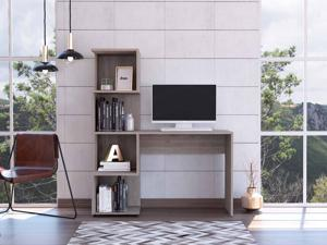 FM FURNITURE Lincoln Computer desk, For An Office Or Home Office, With Bookcase, And  4 Shelves, Modern, Light Gray Finish, Particle Board, Soft Pore Texture, Easy To Assamble.