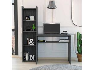 FM FURNITURE Tulsa computer desk with bookcase, For An Office Or Home Office, With 5 Shelves, Grey Oak Finish, Particle Board, Easy To Assamble.