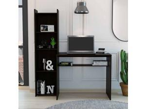 FM FURNITURE Tulsa computer desk with bookcase,  For An Office Or Home Office, With 5 Shelves, Black Wengue Finish, Particle Board, Easy To Assamble.